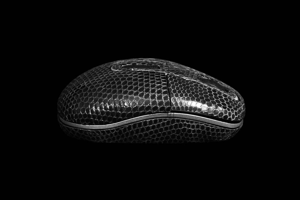 Super Mouse from Genuine Leather - Black Iguana Skin. Radio & Laser Hi-End Technologies.