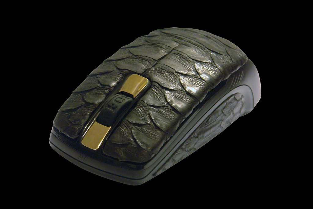 Luxury Mouse MJ Python Leather Limited Edition - Python Skin inlaid Solid Gold