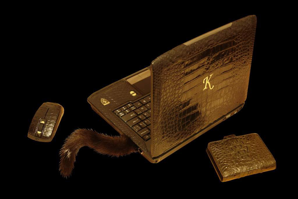 Laptop MJ Gold Diamond Duo Leather - Crocodile & Python Skin (Notebook, Laser Mouse, Fur USB Flash, Purse)