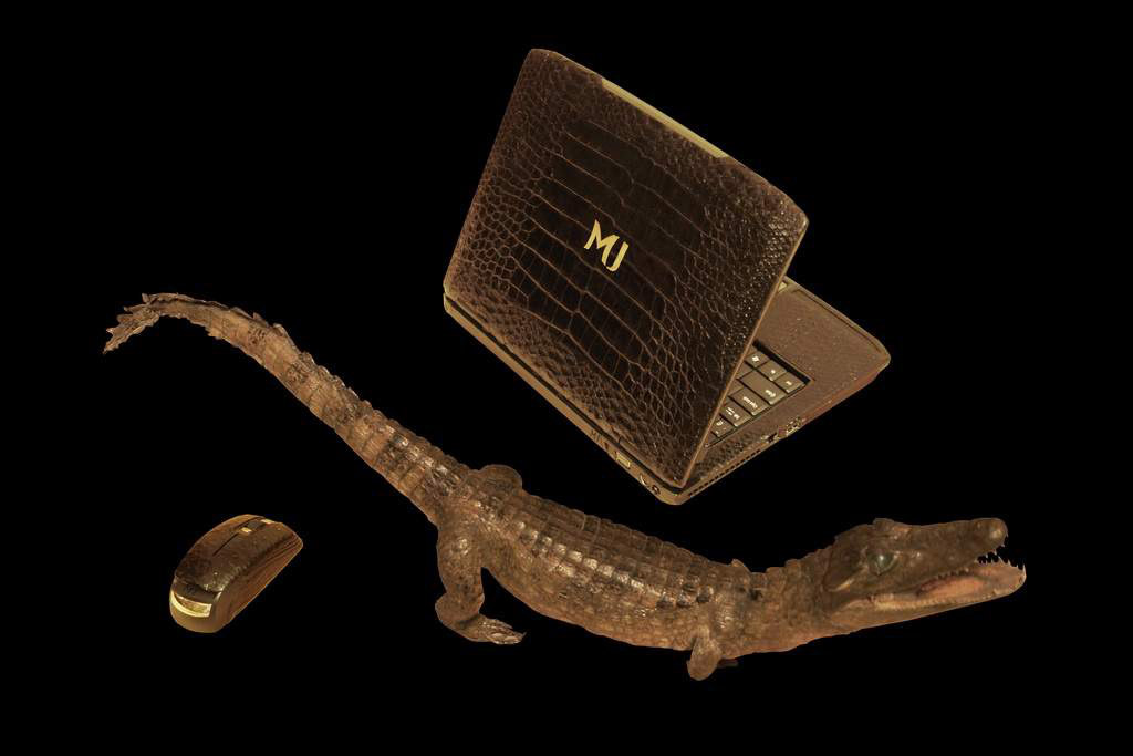 Luxury Laptop MJ Gold Croco Duo Leather Edition - Black Python & Columbian Crocodile Skin - Cayman