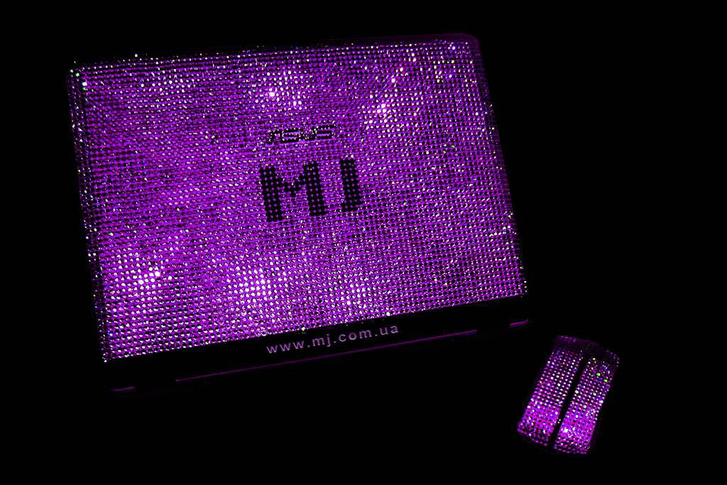 Laptop MJ Swarovski Pink Violet Limited Edition - Inlaid Crystallized Swarovski Strass (Notebook & Bluetooth Mouse)